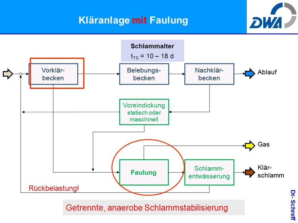 Dr- Schreff Kläranlage mit Faulung Getrennte, anaerobe Schlammstabilisierung Rückbelastung.
