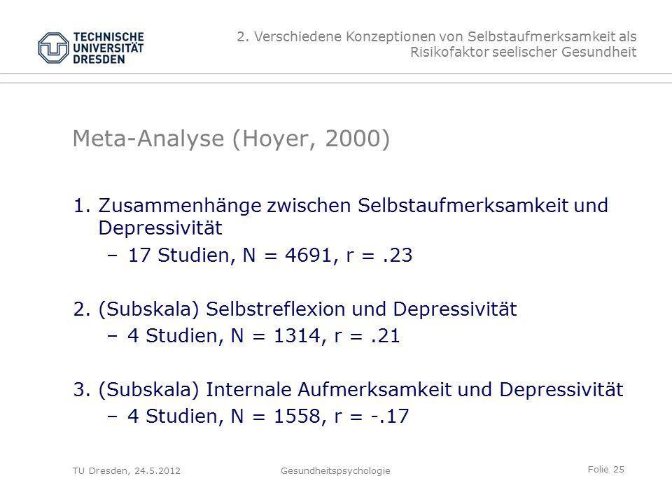 Folie 25 TU Dresden, 24.5.2012Gesundheitspsychologie Meta-Analyse (Hoyer, 2000) 1.Zusammenhänge zwischen Selbstaufmerksamkeit und Depressivität –17 Studien, N = 4691, r =.23 2.(Subskala) Selbstreflexion und Depressivität –4 Studien, N = 1314, r =.21 3.(Subskala) Internale Aufmerksamkeit und Depressivität –4 Studien, N = 1558, r = -.17 2.