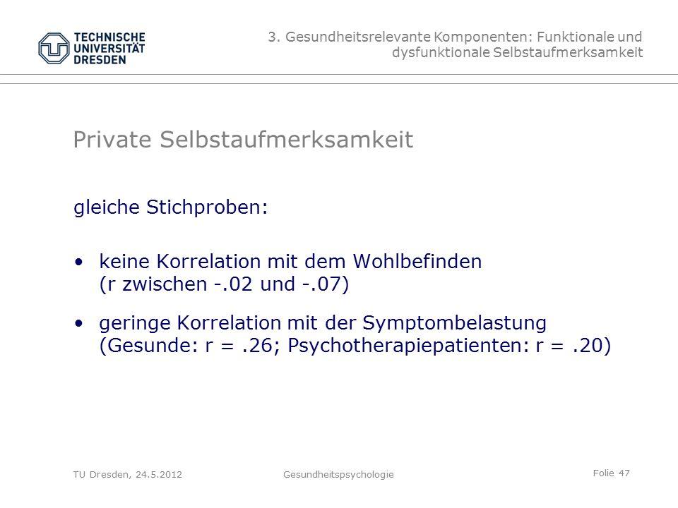 Folie 47 TU Dresden, 24.5.2012Gesundheitspsychologie gleiche Stichproben: keine Korrelation mit dem Wohlbefinden (r zwischen -.02 und -.07) geringe Korrelation mit der Symptombelastung (Gesunde: r =.26; Psychotherapiepatienten: r =.20) Private Selbstaufmerksamkeit 3.