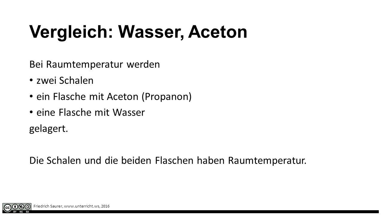 Friedrich Saurer, www.unterricht.ws, 2016 Vergleich: Wasser, Aceton Bei Raumtemperatur werden zwei Schalen ein Flasche mit Aceton (Propanon) eine Flasche mit Wasser gelagert.