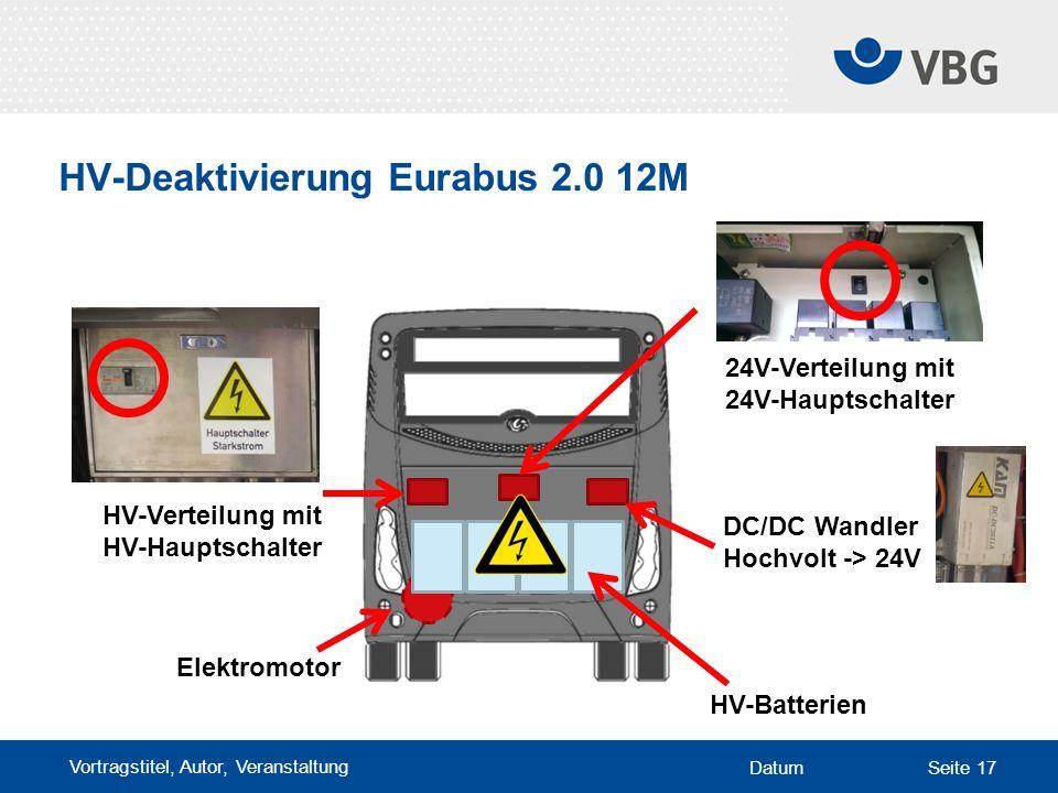 Vortragstitel, Autor, Veranstaltung DatumSeite 17 HV-Deaktivierung Eurabus 2.0 12M Elektromotor HV-Batterien DC/DC Wandler Hochvolt -> 24V HV-Verteilung mit HV-Hauptschalter 24V-Verteilung mit 24V-Hauptschalter