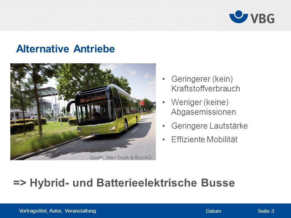 Vortragstitel, Autor, Veranstaltung DatumSeite 3 Alternative Antriebe Quelle: Man Truck & Bus AG Geringerer (kein) Kraftstoffverbrauch Weniger (keine) Abgasemissionen Geringere Lautstärke Effiziente Mobilität => Hybrid- und Batterieelektrische Busse