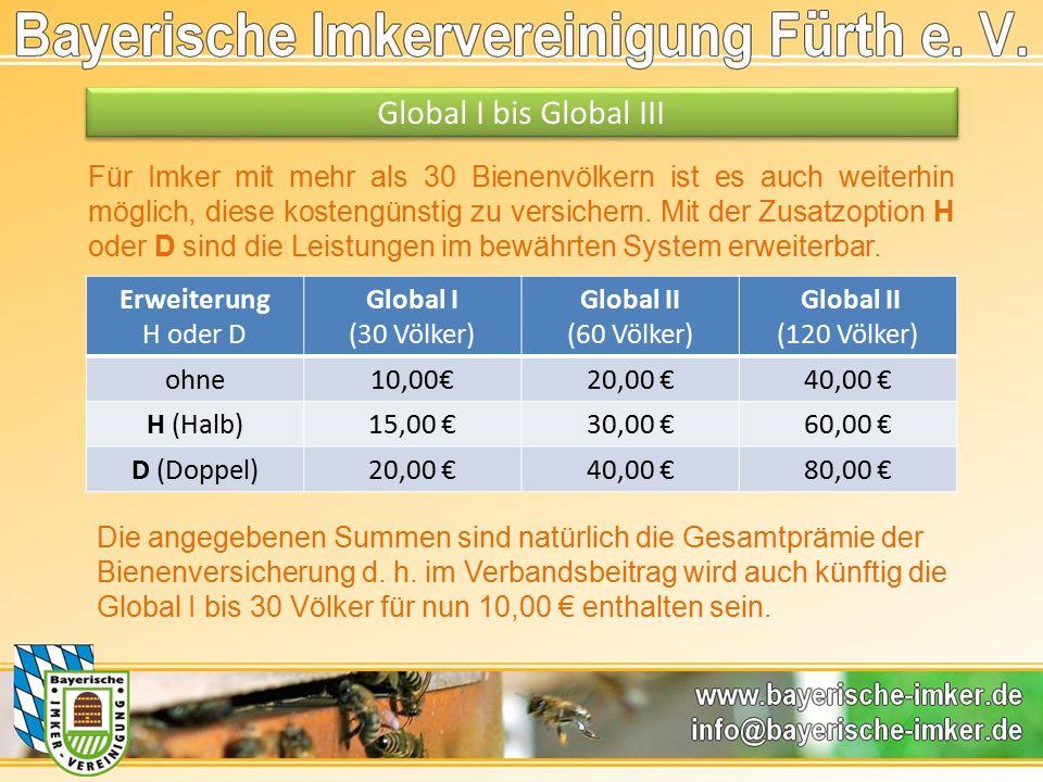 Global I bis Global III Für Imker mit mehr als 30 Bienenvölkern ist es auch weiterhin möglich, diese kostengünstig zu versichern.