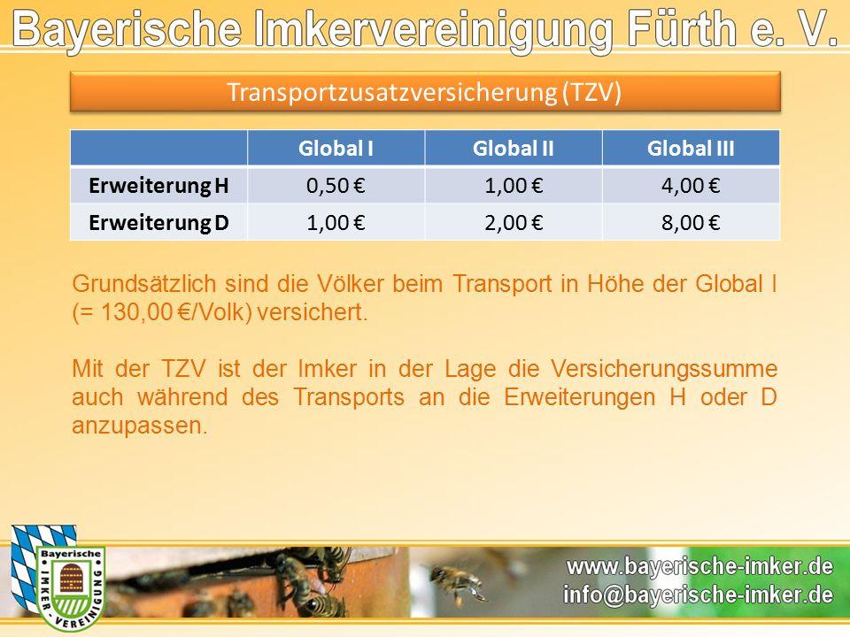Transportzusatzversicherung (TZV) Global IGlobal IIGlobal III Erweiterung H0,50 €1,00 €4,00 € Erweiterung D1,00 €2,00 €8,00 € Grundsätzlich sind die Völker beim Transport in Höhe der Global I (= 130,00 €/Volk) versichert.