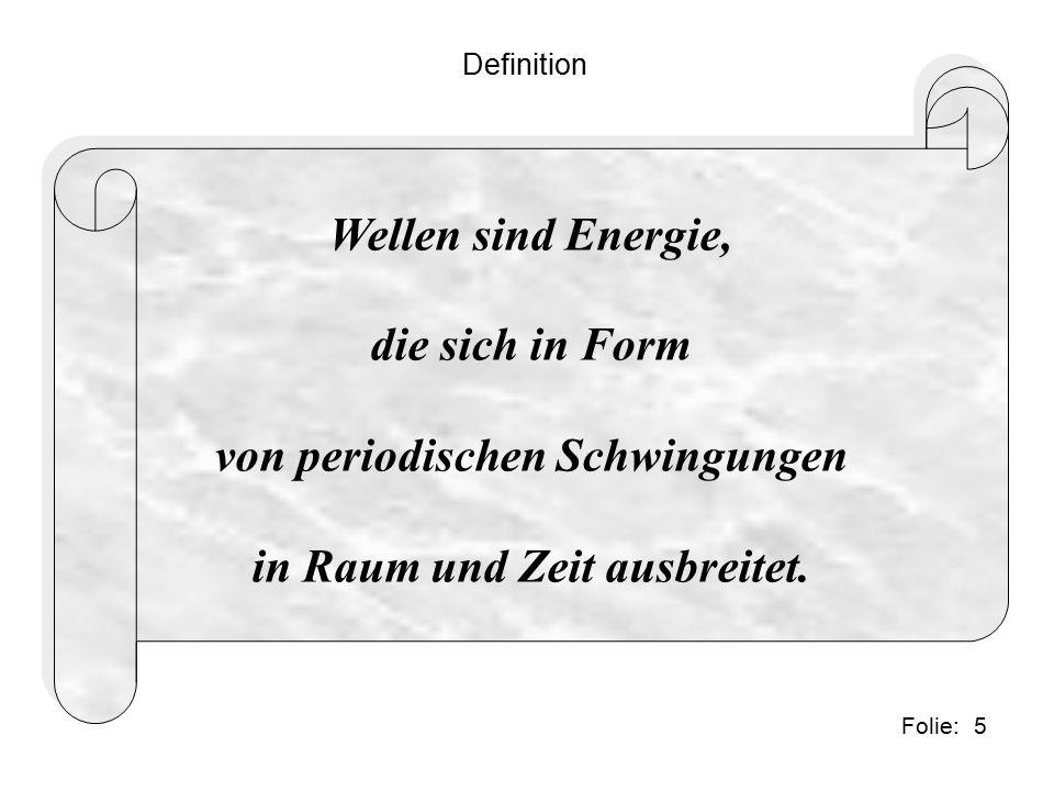 5Folie: Definition Wellen sind Energie, die sich in Form von periodischen Schwingungen in Raum und Zeit ausbreitet.