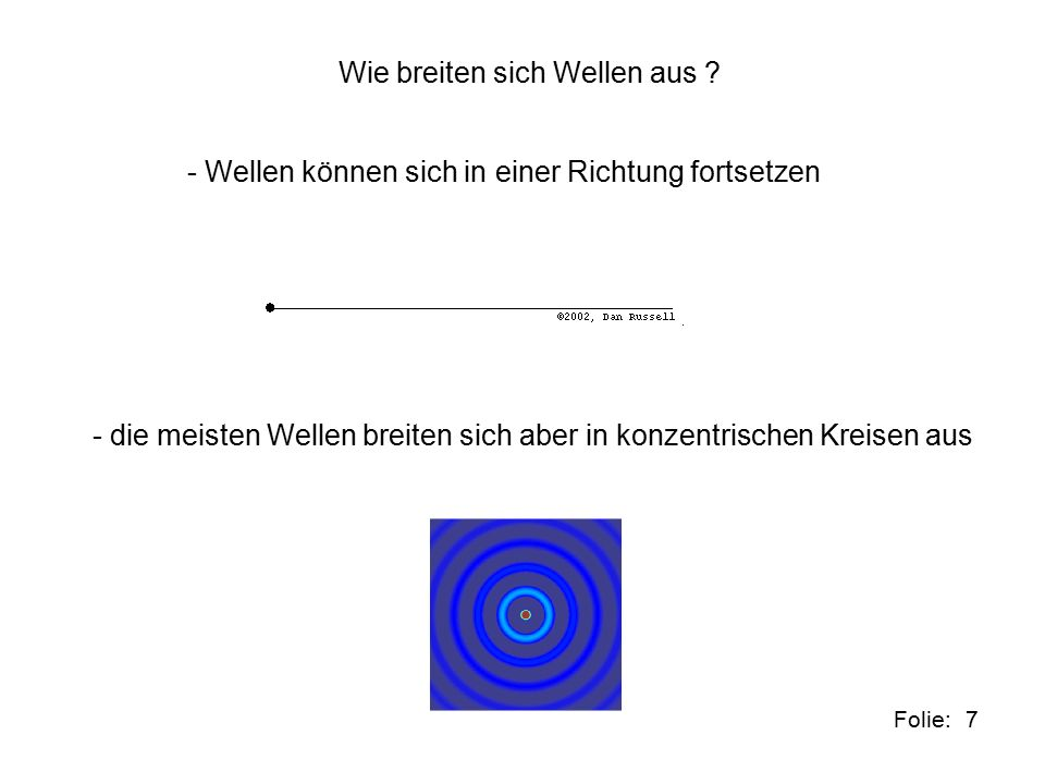 8Folie: Eigenschaften a) Wellen unterscheiden sich darin wie weit der Ausschlag der Schwingung ist.