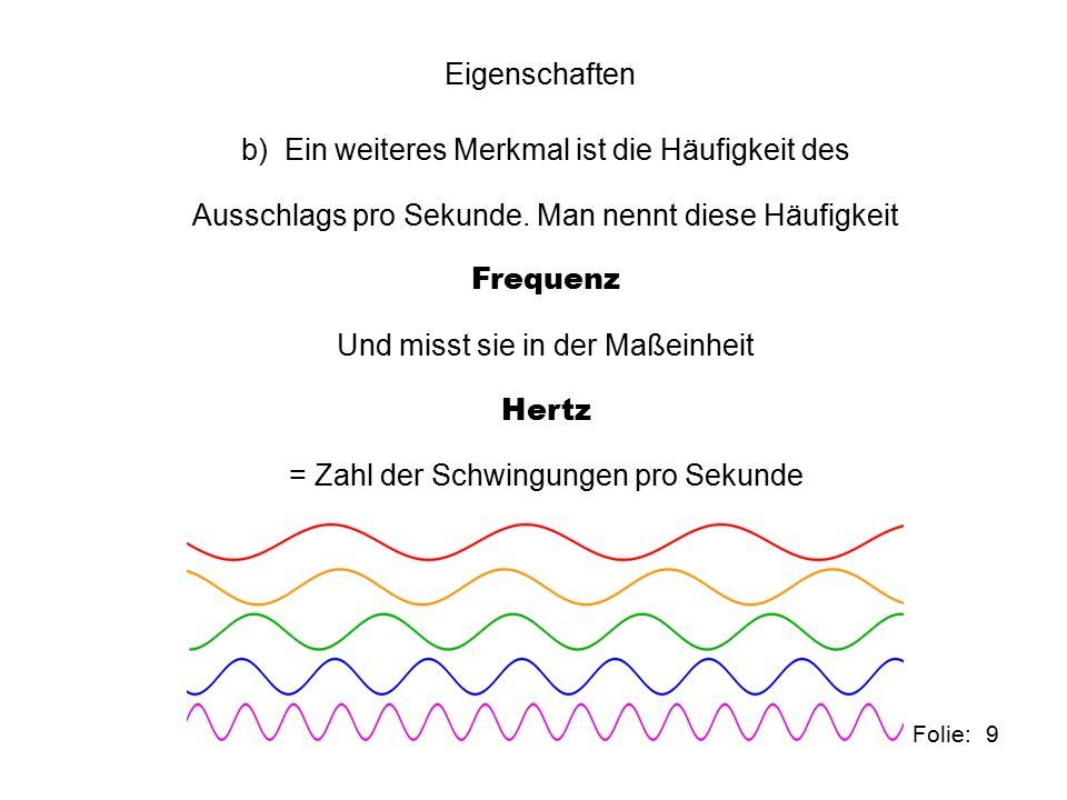 10 Folie: Eigenschaften c) Im Zusammenhang mit der Frequenz steht die Wellenlänge d.h.