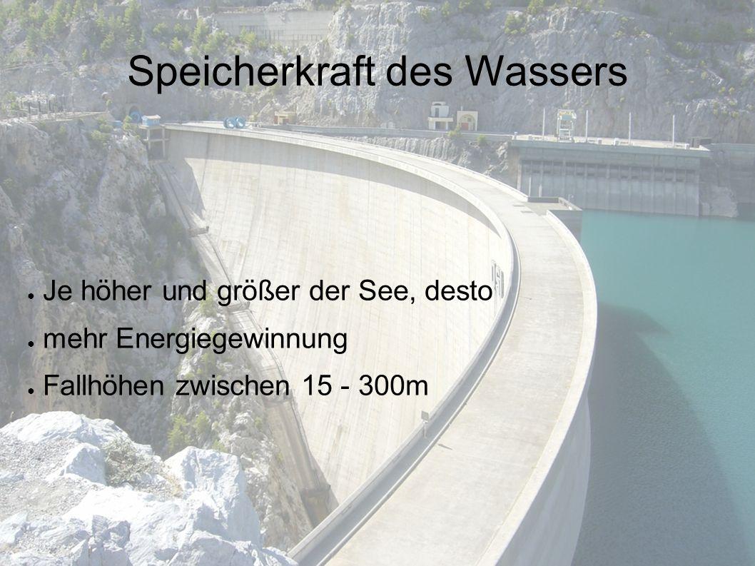 Speicherkraft des Wassers ● Je höher und größer der See, desto ● mehr Energiegewinnung ● Fallhöhen zwischen 15 - 300m