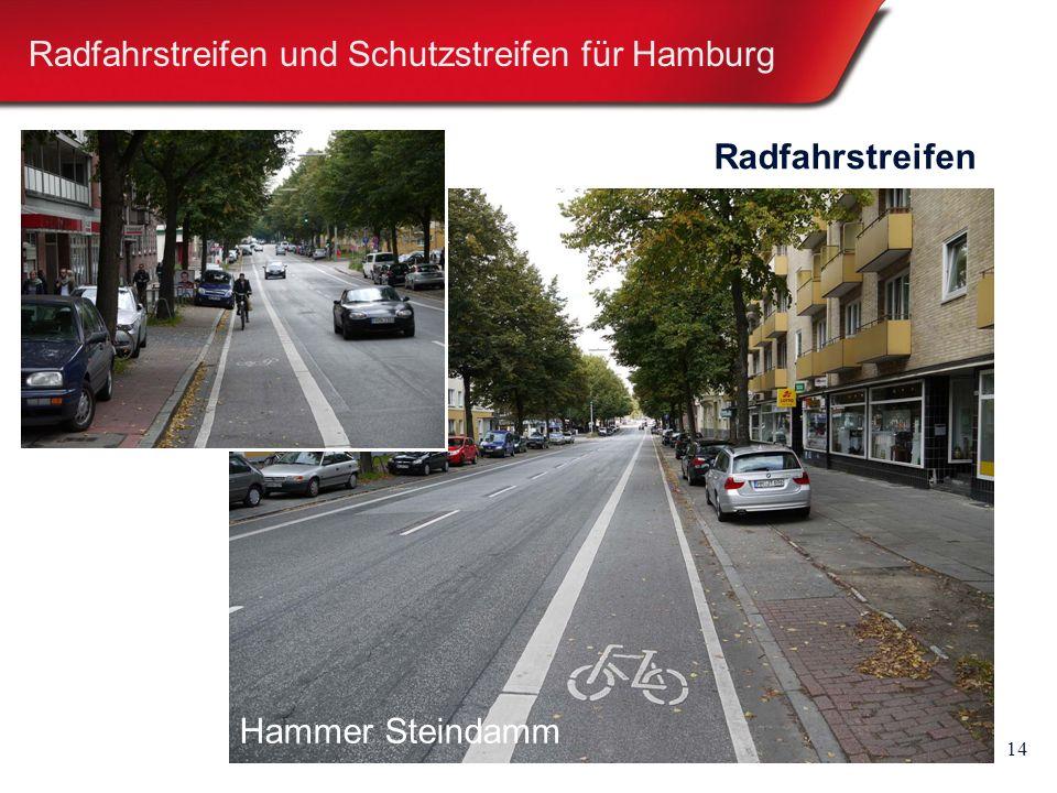 14 Radfahrstreifen und Schutzstreifen für Hamburg Radfahrstreifen Hammer Steindamm
