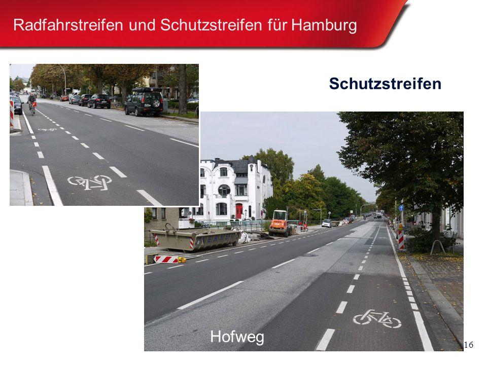 16 Radfahrstreifen und Schutzstreifen für Hamburg Schutzstreifen Hammer SteindammHofweg
