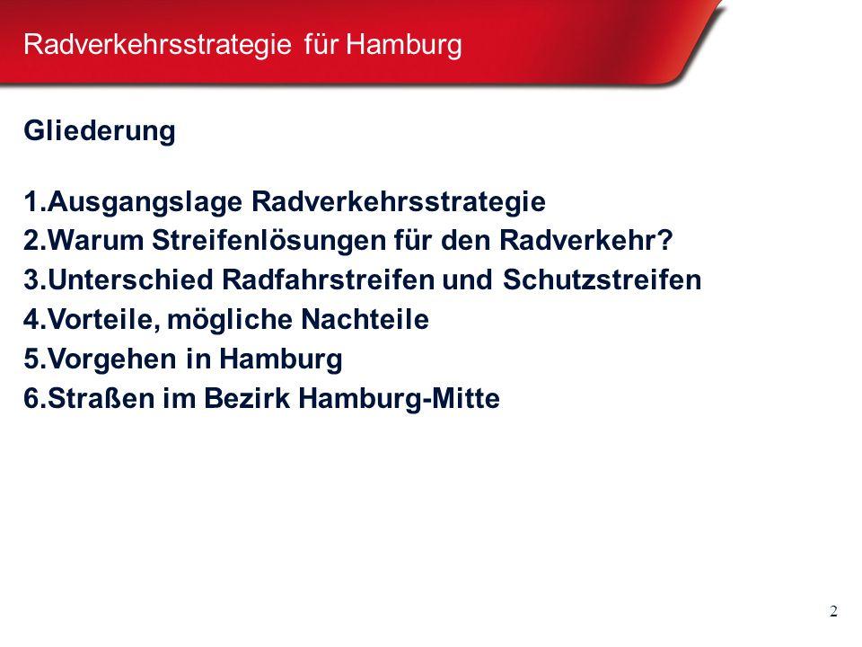 2 Radverkehrsstrategie für Hamburg Gliederung 1. Ausgangslage Radverkehrsstrategie 2.