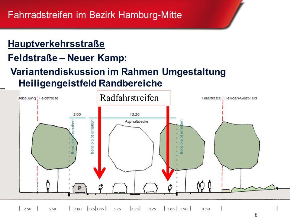 26 Fahrradstreifen im Bezirk Hamburg-Mitte Hauptverkehrsstraße Feldstraße – Neuer Kamp: Variantendiskussion im Rahmen Umgestaltung Heiligengeistfeld Randbereiche Radfahrstreifen