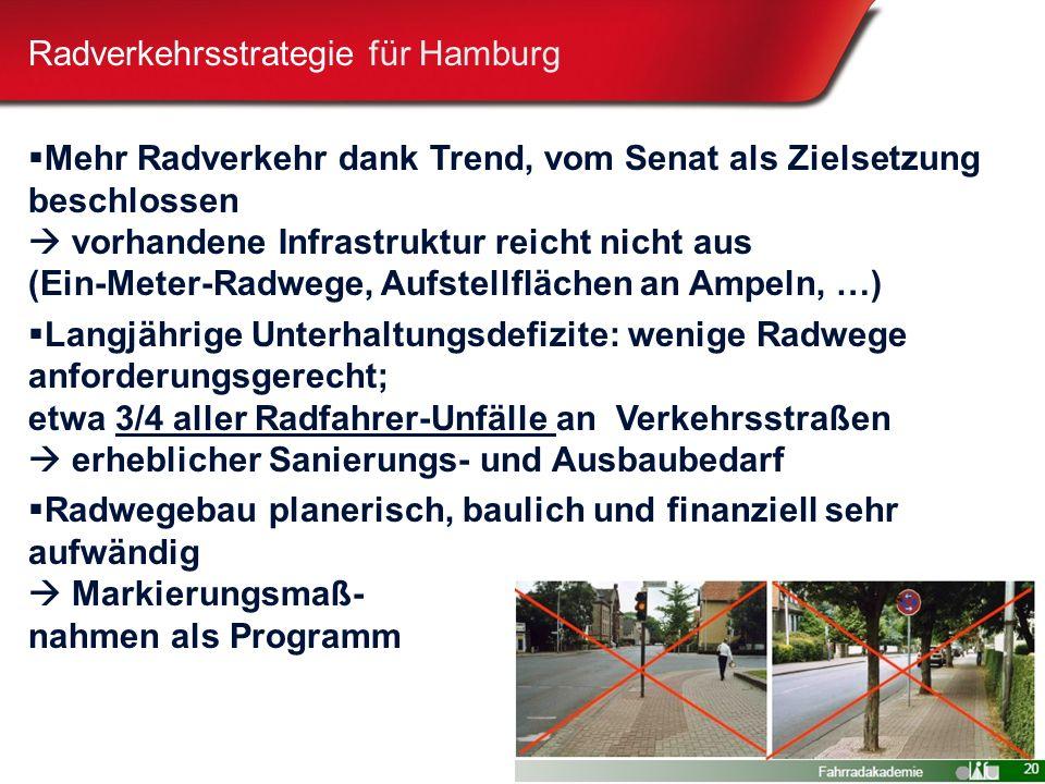 6 Radverkehrsstrategie für Hamburg  Mehr Radverkehr dank Trend, vom Senat als Zielsetzung beschlossen  vorhandene Infrastruktur reicht nicht aus (Ein-Meter-Radwege, Aufstellflächen an Ampeln, …)  Langjährige Unterhaltungsdefizite: wenige Radwege anforderungsgerecht; etwa 3/4 aller Radfahrer-Unfälle an Verkehrsstraßen  erheblicher Sanierungs- und Ausbaubedarf  Radwegebau planerisch, baulich und finanziell sehr aufwändig  Markierungsmaß- nahmen als Programm