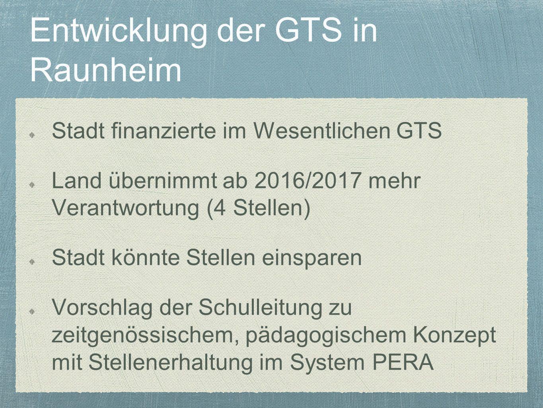 Entwicklung der GTS in Raunheim Stadt finanzierte im Wesentlichen GTS Land übernimmt ab 2016/2017 mehr Verantwortung (4 Stellen) Stadt könnte Stellen einsparen Vorschlag der Schulleitung zu zeitgenössischem, pädagogischem Konzept mit Stellenerhaltung im System PERA