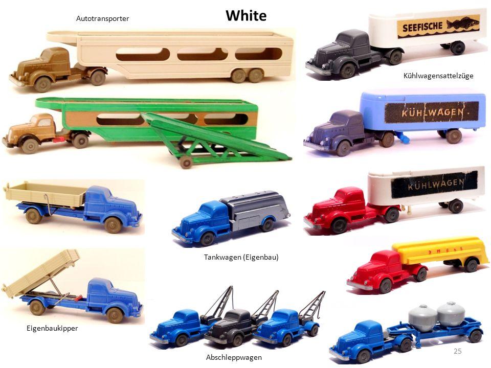 White Eigenbaukipper Autotransporter 25 Kühlwagensattelzüge Tankwagen (Eigenbau) Abschleppwagen