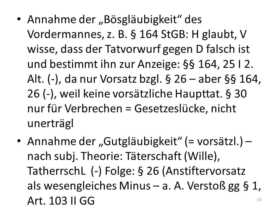 """Annahme der """"Bösgläubigkeit des Vordermannes, z. B."""