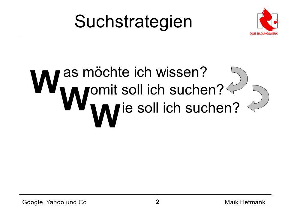 2 Maik Hetmank Google, Yahoo und Co Suchstrategien as möchte ich wissen.