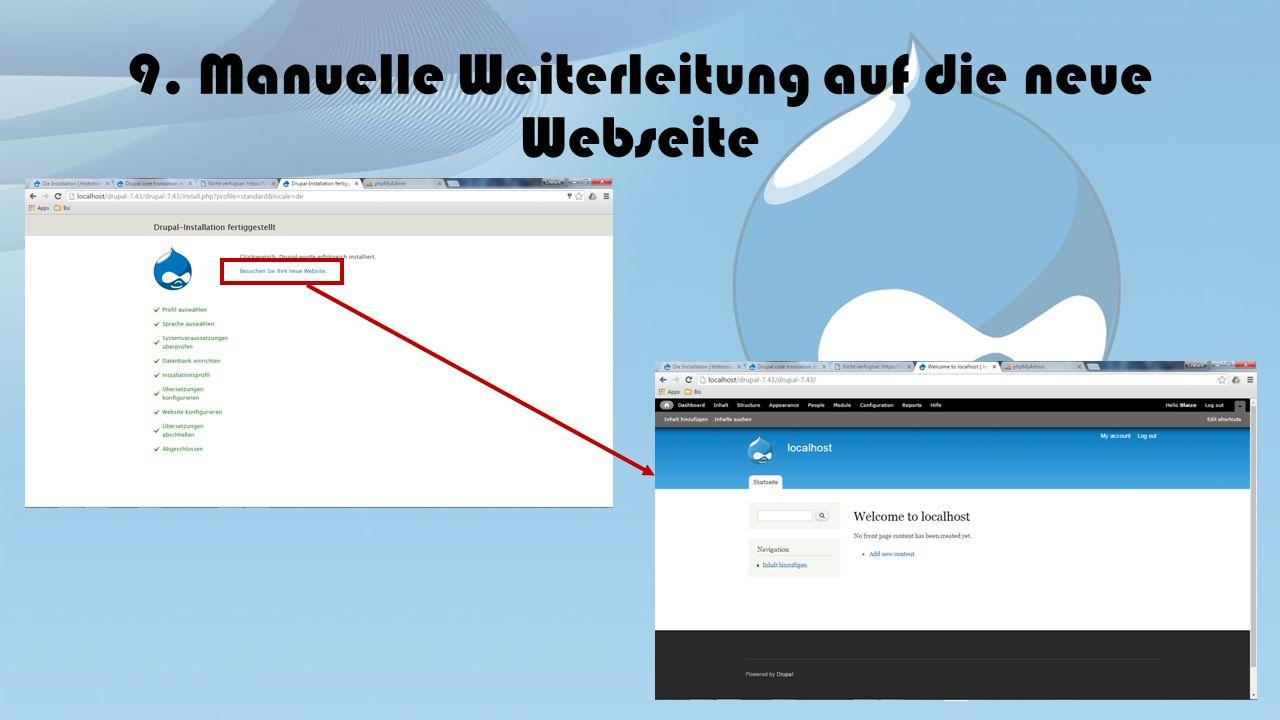 9. Manuelle Weiterleitung auf die neue Webseite