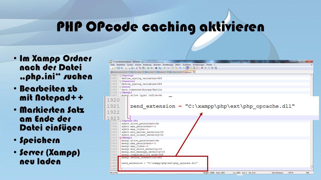 """PHP OPcode caching aktivieren Im Xampp Ordner nach der Datei """"php.ini suchen Bearbeiten zb mit Notepad++ Markierten Satz am Ende der Datei einfügen Speichern Server (Xampp) neu laden"""