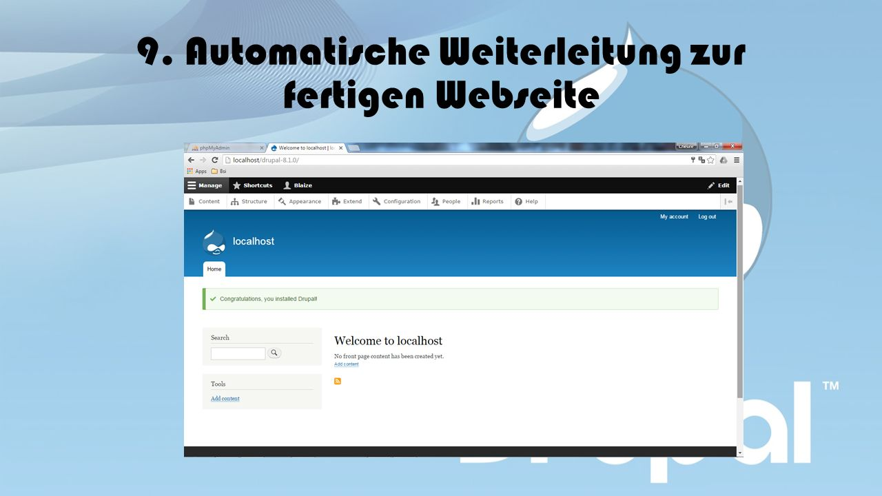 9. Automatische Weiterleitung zur fertigen Webseite