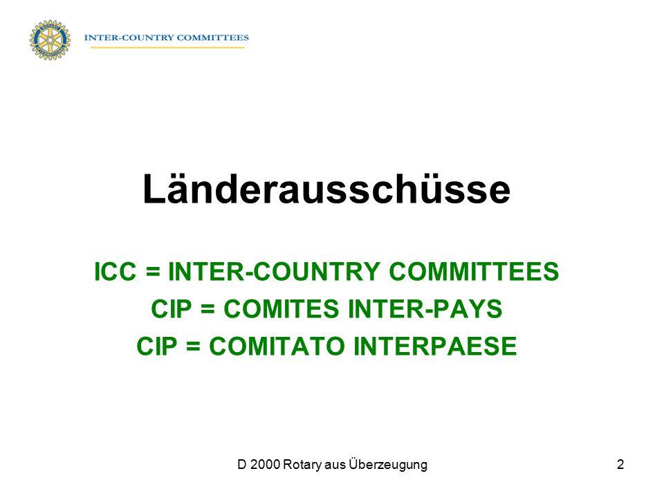 D 2000 Rotary aus Überzeugung2 Länderausschüsse ICC = INTER-COUNTRY COMMITTEES CIP = COMITES INTER-PAYS CIP = COMITATO INTERPAESE