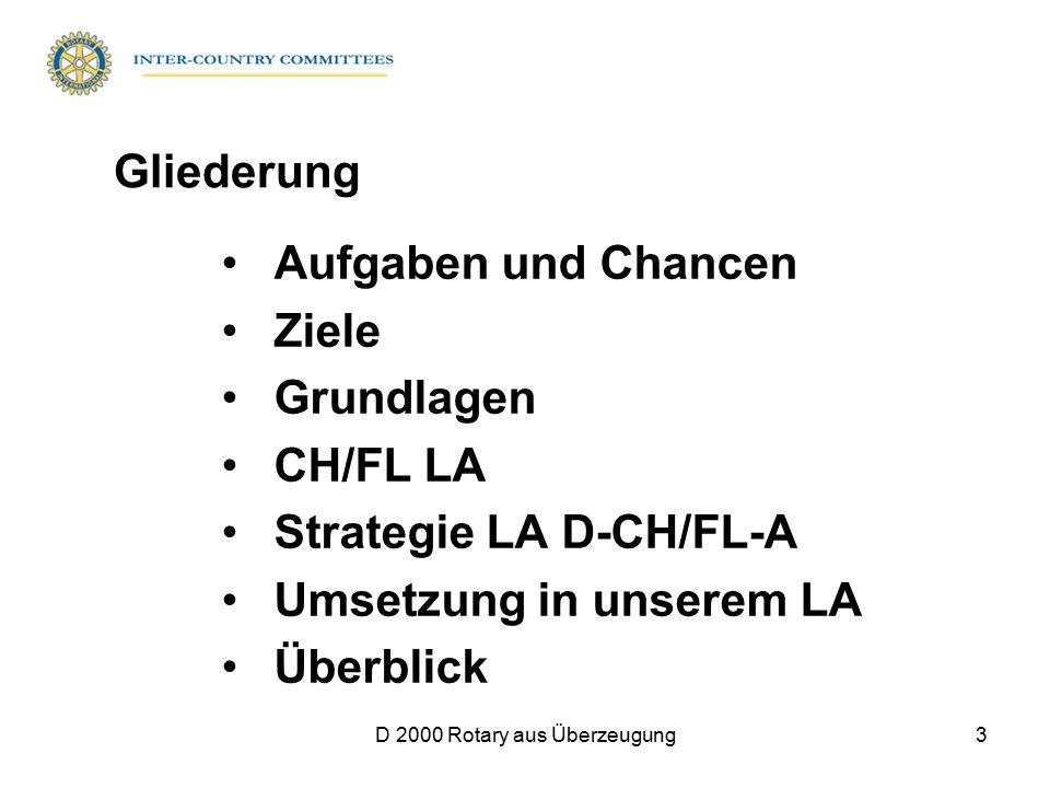 D 2000 Rotary aus Überzeugung3 Aufgaben und Chancen Ziele Grundlagen CH/FL LA Strategie LA D-CH/FL-A Umsetzung in unserem LA Überblick Gliederung