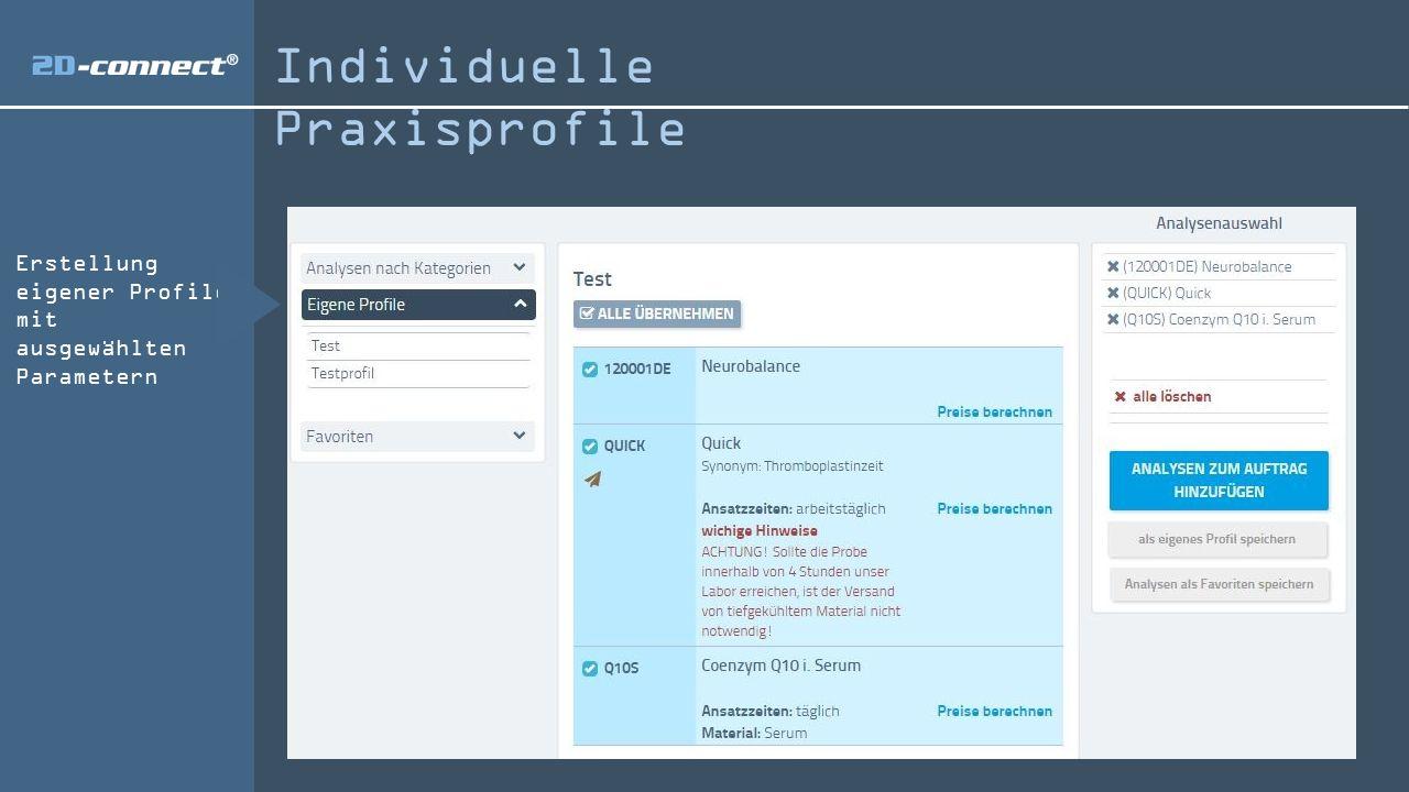 Individuelle Praxisprofile Erstellung eigener Profile mit ausgewählten Parametern