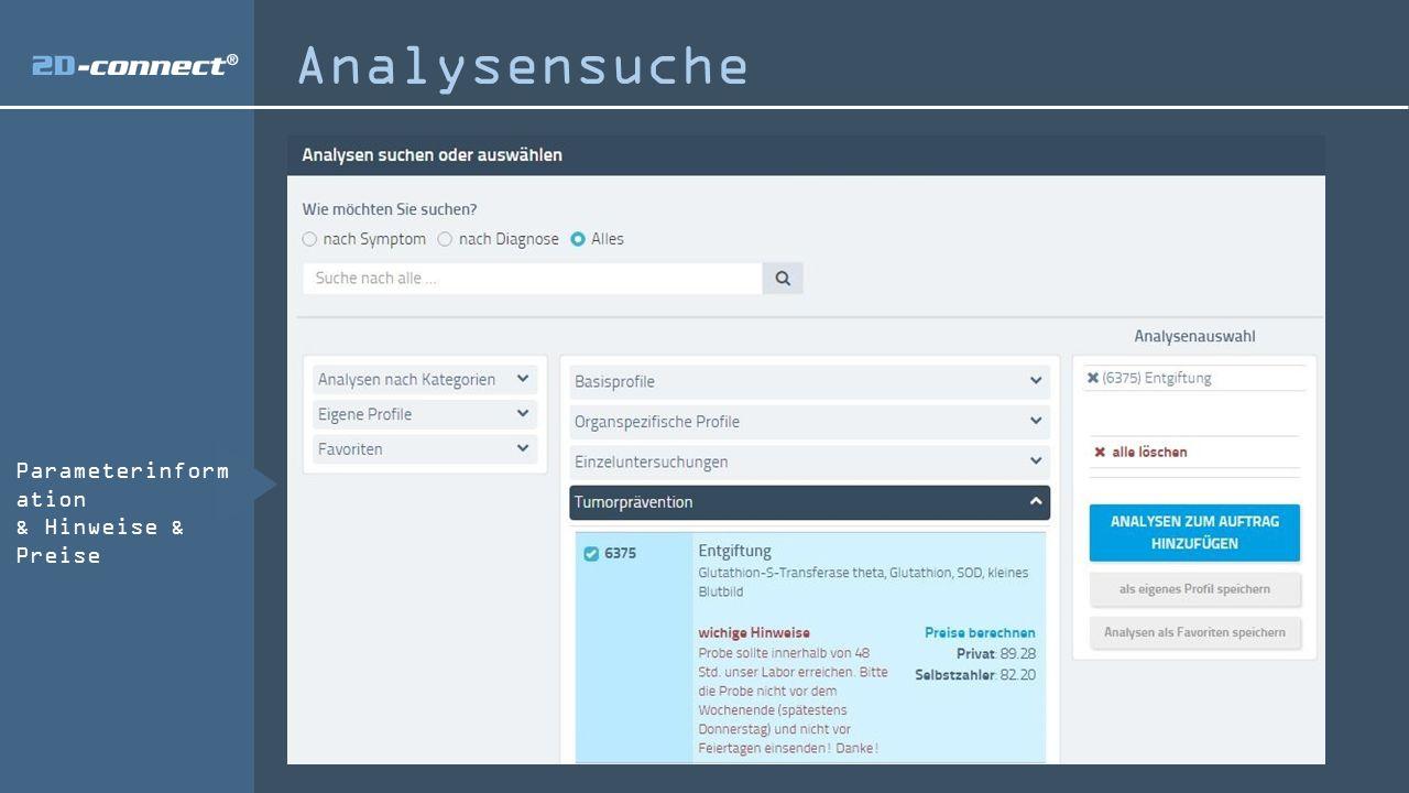 Parameterinform ation & Hinweise & Preise Analysensuche