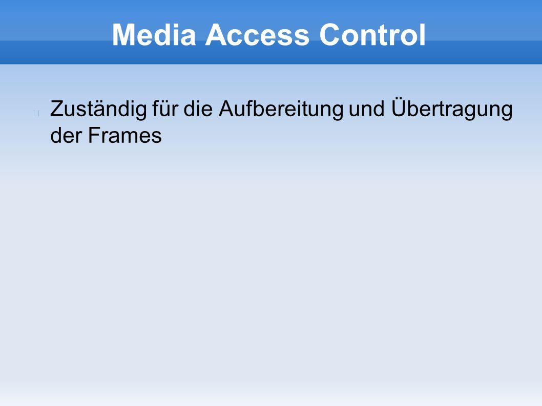 Media Access Control Zuständig für die Aufbereitung und Übertragung der Frames