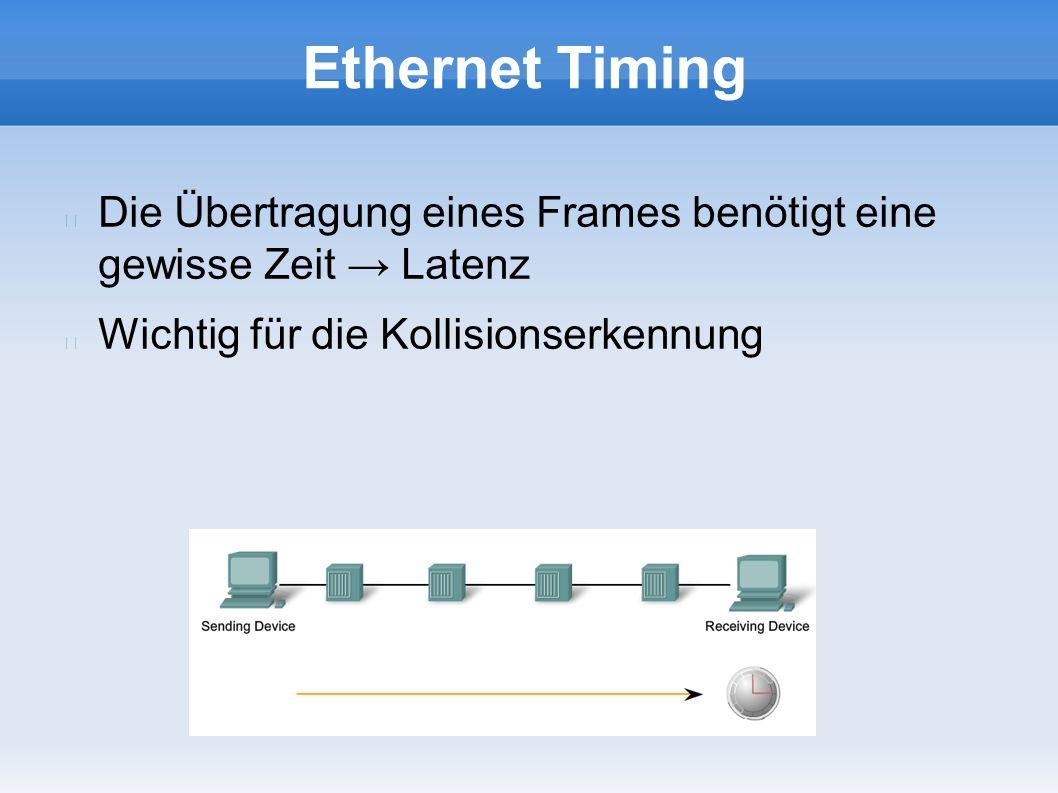 Ethernet Timing Die Übertragung eines Frames benötigt eine gewisse Zeit → Latenz Wichtig für die Kollisionserkennung