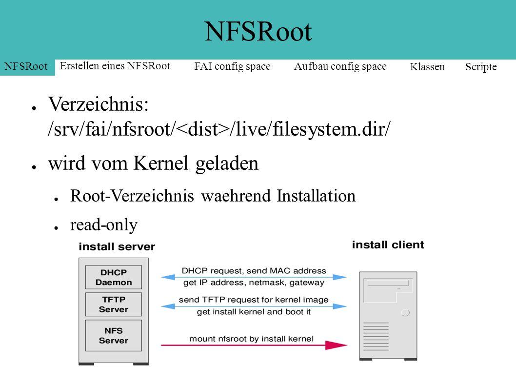 NFSRoot ● Verzeichnis: /srv/fai/nfsroot/ /live/filesystem.dir/ ● wird vom Kernel geladen ● Root-Verzeichnis waehrend Installation ● read-only NFSRoot Erstellen eines NFSRoot FAI config spaceAufbau config space Klassen Scripte