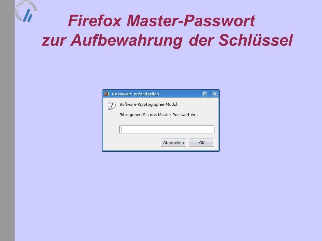 Firefox Master-Passwort zur Aufbewahrung der Schlüssel