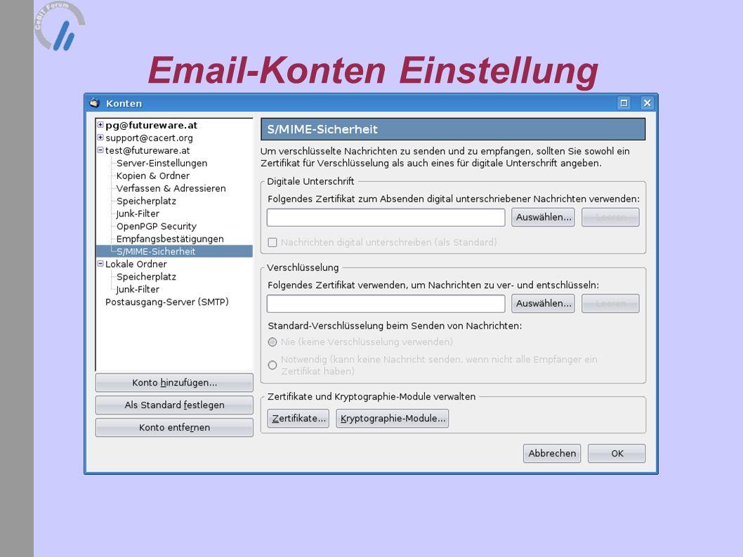 Email-Konten Einstellung