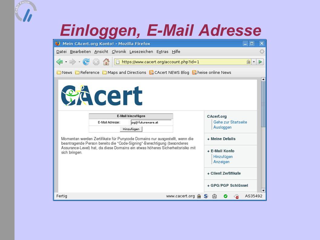 Einloggen, E-Mail Adresse