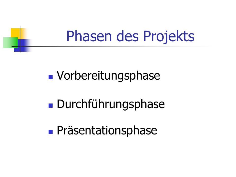 Phasen des Projekts Vorbereitungsphase Durchführungsphase Präsentationsphase