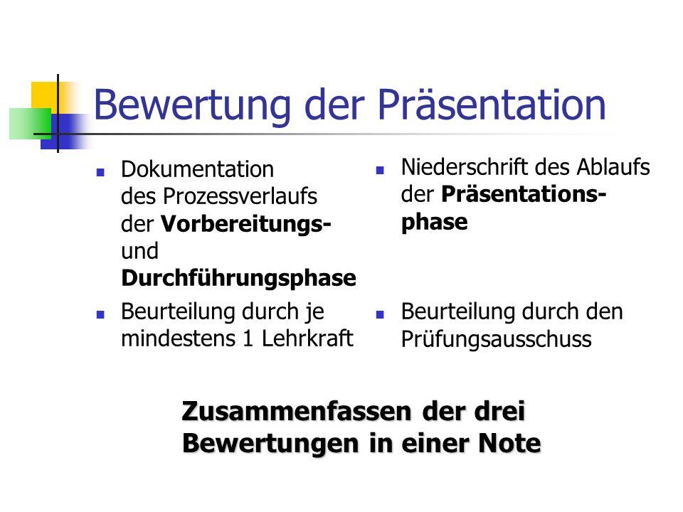 Bewertung der Präsentation Dokumentation des Prozessverlaufs der Vorbereitungs- und Durchführungsphase Beurteilung durch je mindestens 1 Lehrkraft Niederschrift des Ablaufs der Präsentations- phase Beurteilung durch den Prüfungsausschuss Zusammenfassen der drei Bewertungen in einer Note