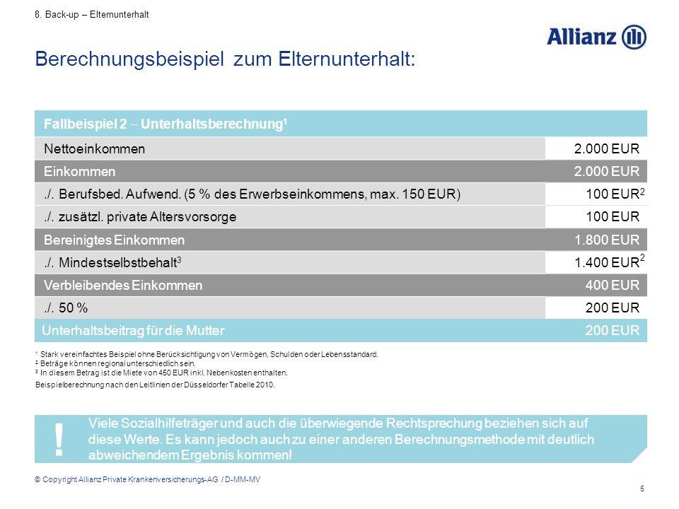 5 © Copyright Allianz Private Krankenversicherungs-AG / D-MM-MV Berechnungsbeispiel zum Elternunterhalt: 1 Stark vereinfachtes Beispiel ohne Berücksic