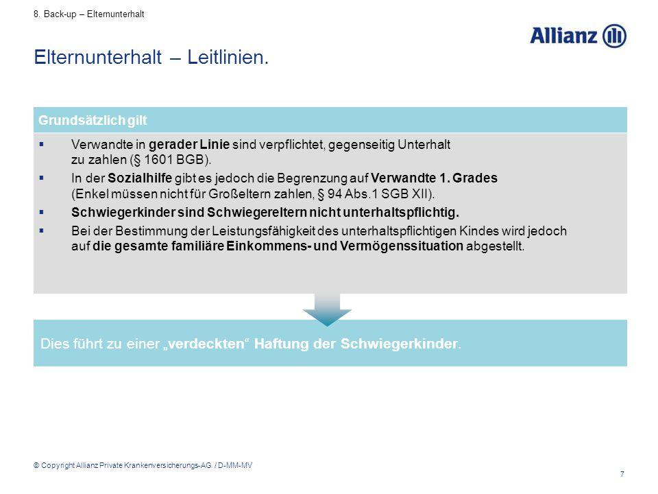 """7 © Copyright Allianz Private Krankenversicherungs-AG / D-MM-MV Dies führt zu einer """"verdeckten"""" Haftung der Schwiegerkinder. Elternunterhalt – Leitli"""