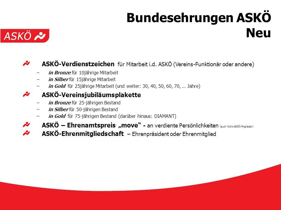 www.askoe.at 12.10.2015, ASKÖ Präsidium Bundesehrungen ASKÖ Neu ASKÖ-Verdienstzeichen für Mitarbeit i.d. ASKÖ (Vereins-Funktionär oder andere) –in Bro