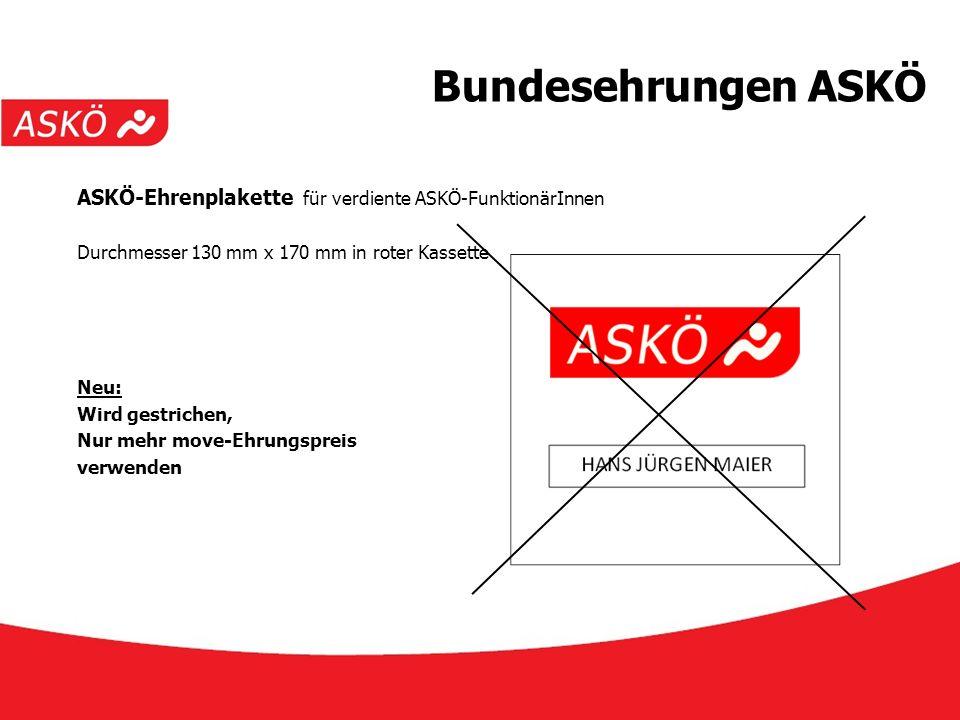 www.askoe.at 12.10.2015, ASKÖ Präsidium Bundesehrungen ASKÖ ASKÖ-Ehrenplakette für verdiente ASKÖ-FunktionärInnen Durchmesser 130 mm x 170 mm in roter