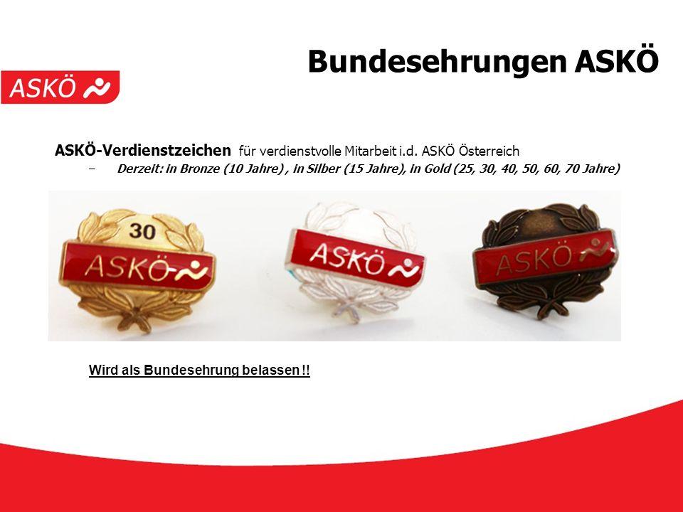 www.askoe.at 12.10.2015, ASKÖ Präsidium Bundesehrungen ASKÖ ASKÖ-Verdienstzeichen für verdienstvolle Mitarbeit i.d. ASKÖ Österreich –Derzeit: in Bronz