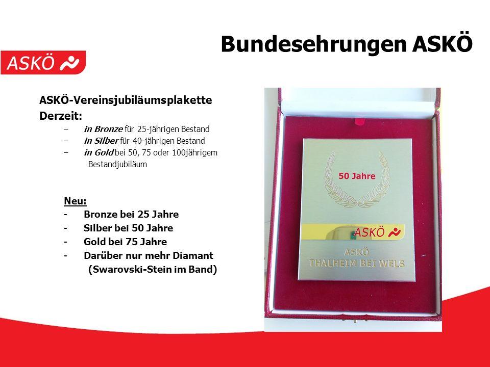 www.askoe.at 12.10.2015, ASKÖ Präsidium Bundesehrungen ASKÖ ASKÖ-Vereinsjubiläumsplakette Derzeit: –in Bronze für 25-jährigen Bestand –in Silber für 4