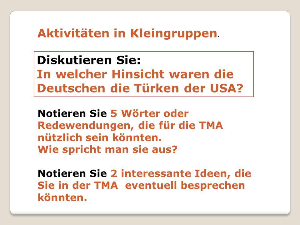 Diskutieren Sie: In welcher Hinsicht waren die Deutschen die Türken der USA? Aktivitäten in Kleingruppen. Notieren Sie 5 Wörter oder Redewendungen, di