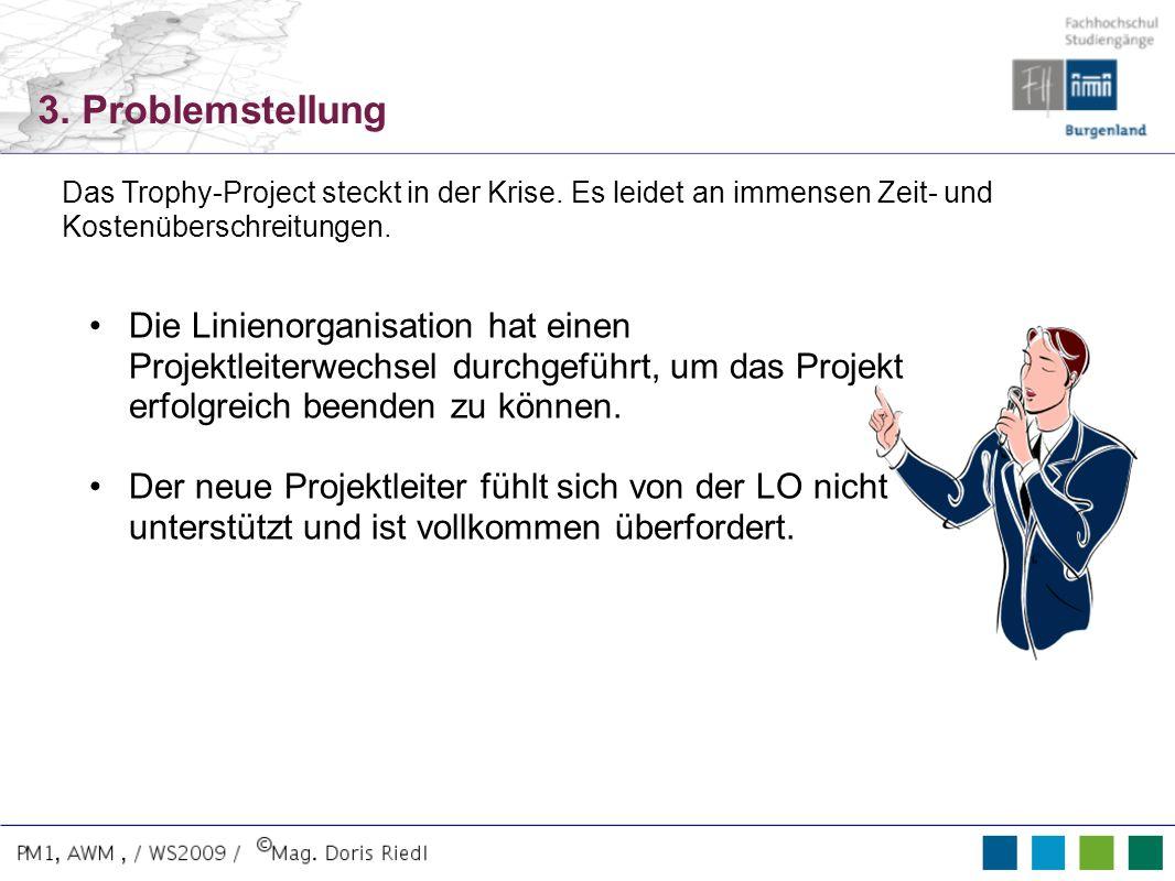 3. Problemstellung Die Linienorganisation hat einen Projektleiterwechsel durchgeführt, um das Projekt erfolgreich beenden zu können. Der neue Projektl