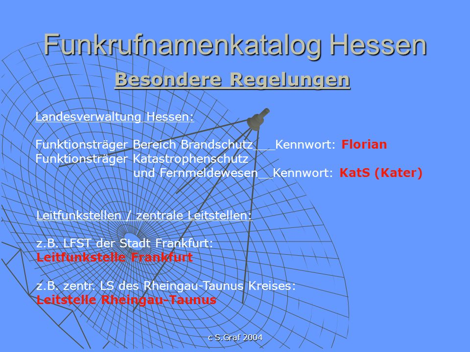 c S.Graf 2004 Funkrufnamenkatalog Hessen Besondere Regelungen Stationäre Einrichtungen des Katastrophenschutzes: IuK-Zentrale: KatS/Kater (Landkreis/kreisfreie Stadt) Rettungshubschrauber: Christoph z.B.