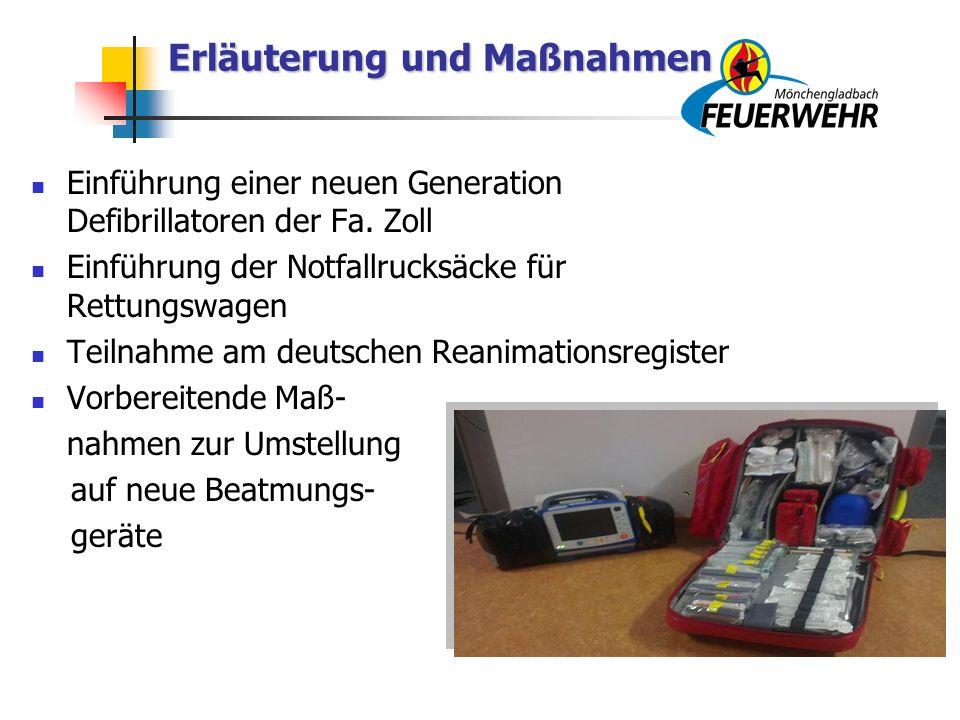 Erläuterung und Maßnahmen Erläuterung und Maßnahmen Einführung einer neuen Generation Defibrillatoren der Fa.