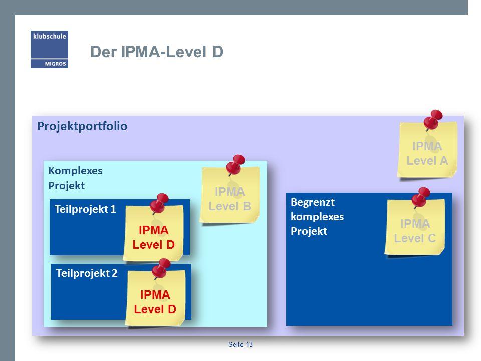 Seite 13 Projektportfolio Begrenzt komplexes Projekt Komplexes Projekt Teilprojekt 2 Teilprojekt 1 Spezialist/in, Teilprojekt- leiter/in Senior Projekt- manager Projekt- manager Der IPMA-Level D Projekt- portfolio- manager IPMA Level D IPMA Level B IPMA Level C IPMA Level A
