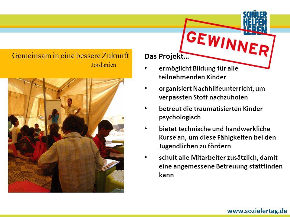 www.sozialertag.de Das Projekt… ermöglicht Bildung für alle teilnehmenden Kinder organisiert Nachhilfeunterricht, um verpassten Stoff nachzuholen betr