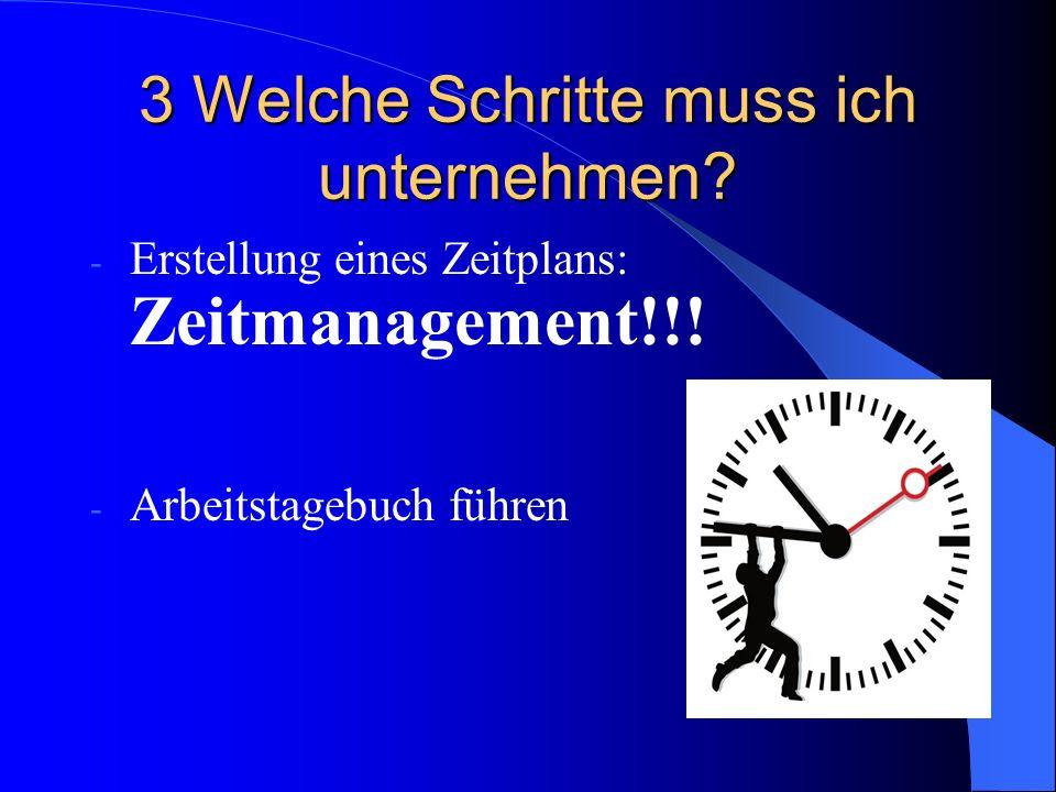 3 Welche Schritte muss ich unternehmen. - Erstellung eines Zeitplans: Zeitmanagement!!.