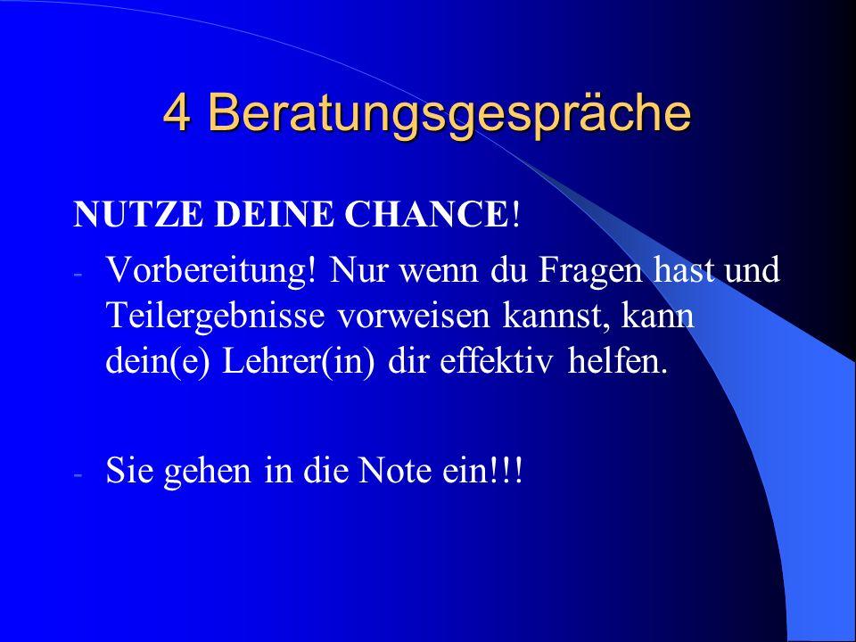 4 Beratungsgespräche NUTZE DEINE CHANCE.- Vorbereitung.